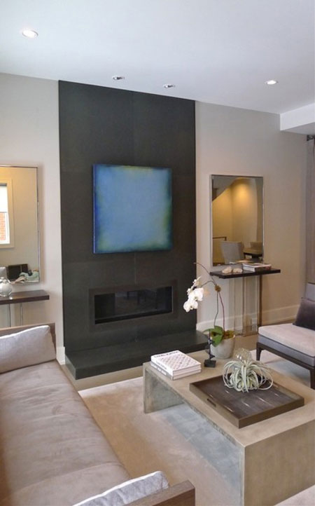Steel Fireplace Surround & Hearth at Bosworth Street Residence