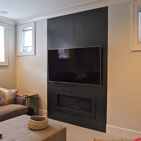 Steel Fireplace Surround at Bosworth Street Residence Basement