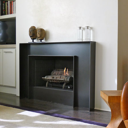 Assymetrically Balanced Hot Rolled Steel Fireplace Surround @ Tom & Pete's New Loft