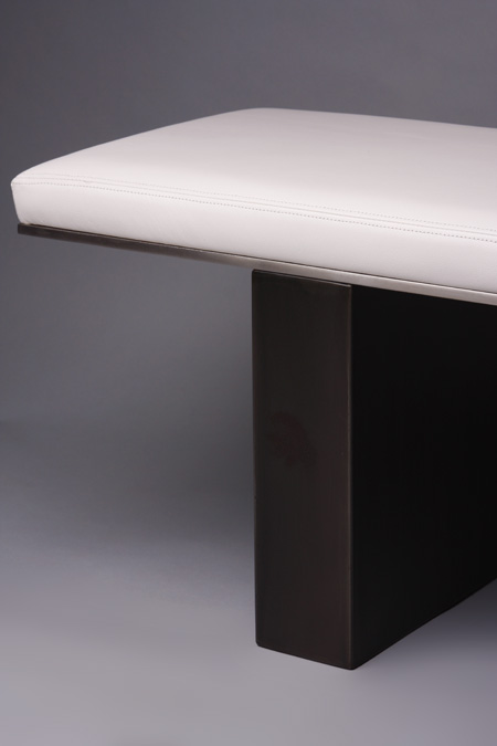 White Leather Bench, with Stainless Trim detail