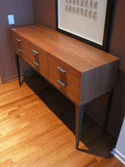 Wood and Hand-Forged Steel Console with Six Drawers