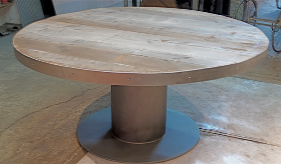 Circular Pedestal Table w/ Reclaimed Industrial Timbers