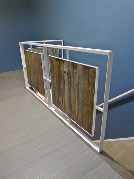 Stair Railing in Steel + Reclaimed Barn Wood